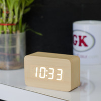 jam kayu meja/Jam meja kayu / jam led / jam alarm pendek