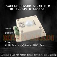 Saklar Sensor Gerak PIR LED ( Human Body Detector ) 8A DC 12-24V