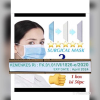 MASKER 3 PLY / MASKER 3PLY / SURGICAL MASK ISI 50pc bersertifikat CE