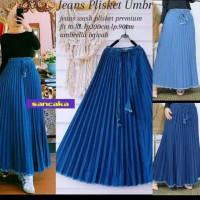 ROK PLISKET JEANS//fasion wanita rok plisket jeans denim