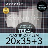 OPP LEM 20 x 35 +3 cm Plastik Bening Seal Bungkus Roti Undangan Baju
