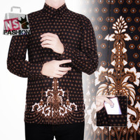 Kemeja Batik Pria Size M L XL XXL Lengan Panjang Katun Hitam Silan