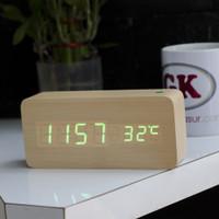 Jam meja kayu / jam kayu meja / jam led / jam alarm panjang