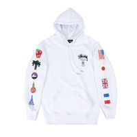 SWEATER HOODIE STUSSY WORLD TOUR FLAGS WHITE