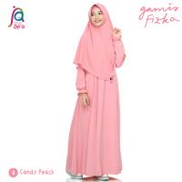 Gamis Syar'i Jilbab Afra Arfa Fizka Busui Premium Crepe Candy Peach