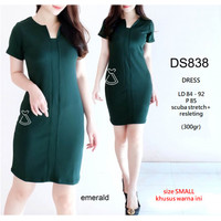 SEDS838 DRESS KANTOR DRESS PESTA BASIC SEPAN STRETCH MURAH