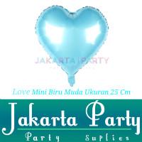 Balon Foil Love Mini Biru Muda / Balon Love Hijau / Balon Hati Mini