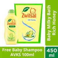 Zwitsal Baby Bath Natural Milk & Honey 450ML Free Shampoo AVKS 100ML