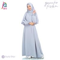 Gamis Syar'i Jilbab Afra Arfa Fizka Dress Ori Premium Crepe Dusty Grey