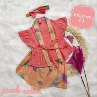 kebaya anak batik bayi baju batik anak perempuan peplun peach salem