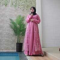 Party Look Fashion Muslim gamis pesta tile brukat brokat