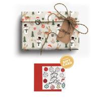 Paket Kertas Kado & Kartu Natal Harvest Gift Set Xmas -Joyland Penguin