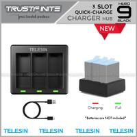 TELESIN 3 Slot Battery Charger with Type-C for GoPro Hero 9