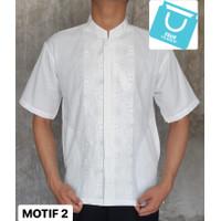 baju koko pria lengan pendek putih katun terlaris KPH21 - Putih, M