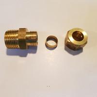 """Male Conector kuningan solid 1/2"""" X 1/2"""" plus nut dan cincin"""