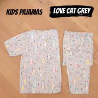 KIDS LOVE CAT GREY piyama anak cewek cowok katun catra kerah Y