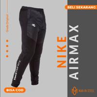 Celana Jogger Training Panjang Pria Nike Air Max Rib Grade Original - Hitam, L