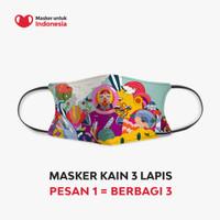 Masker Kain 3 Lapis (3 Ply) Earloop - Desain oleh Diela Maharanie
