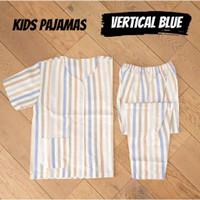 KIDS VERTICAL BLUE Piyama Anak Cowok Cewek Katun Catra Kerah Y Halus A