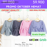 [1-6] Baju Blouse Anak Perempuan Kualitas Export BO. 19 - 1, Abu-abu