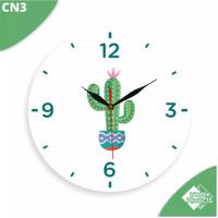 Jam Dinding Minimalis Aesthetic Motif Kaktus