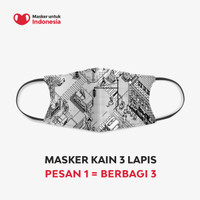 Masker Kain 3 Lapis (3 Ply) Earloop - Desain oleh Pinot