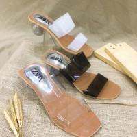 ZARA Basic Hak Kaca Wanita High Heels Bulat 5-7cm am13