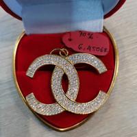 Liontin channel mata sirkon emas 700