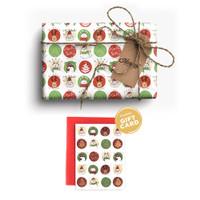 Paket Kertas Kado & Kartu Natal Harvest Gift Set Xmas - Joyland White