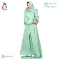 Gamis Syar'i Jilbab Afra Arfa Fizka Dress Busui Premium Crepe Greentea