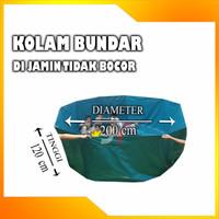 KOLAM TERPAL BUNDAR / DM.200cm x T.120cm / BAHAN PVC / SEMI KARET - ULIN HIJAU
