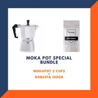 Mokapot Coffee Maker Espresso 2cups + Kopi Robusta 100gr