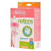Dr Brown's Option Wide Neck Botol Susu Bayi 270ml - Isi 2 - Pink