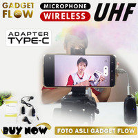 Mikrofon Mic Clip On Wireless UHF untuk HP Smartphone Type C & iPhone - Adapter iPhone