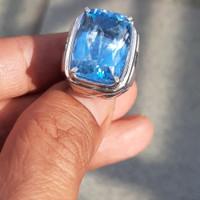 Cincin Perak Pria Batu Blue Topaz Swiss natural
