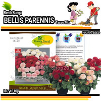 Benih bibit tanaman hias bunga Bellis Parennis Tasso Mix
