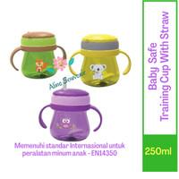 BABY SAFE BOTOL MINUM + SEDOTAN  TRAINING CUP WITH STRAW 250ML