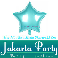Balon Foil Star Mini Biru Muda / Balon Foil Star / Balon Bintang