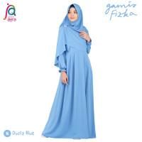 Gamis Syar'i Jilbab Afra Arfa Fizka Ori Dress Premium Crepe Dusty Blue