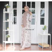 Gamis Katun Rayon Premium Lyqueensa Bunga Pink Ruffle 3 Tali Pinggang