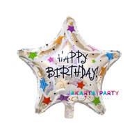 Balon Foil Bintang HBD / Balon Foil Star Motif HBD / Balon Bintang