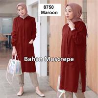 1412 tunik wanita pakaian muslimah maroon coklat murah kemeja panjang