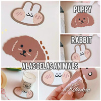 glass coaster tatakan gelas animals alas gelas puppy rabbit