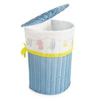 Half Round Laundry Blue/Keranjang Rotan Baju Kotor