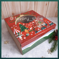 Window Box 22 x 22 Christmas Town / Packaging Hampers Kue Natal