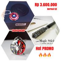 Paket Kalung Pendant Marvel Captain America + Spiderman + Magic Stick