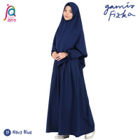 Gamis Syar'i Jilbab Afra Arfa Fizka Dress Asli Premium Crepe Navy Blue
