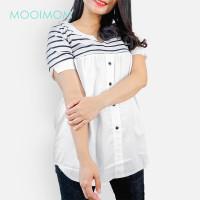 MOOIMOM Stripe Nursing T-Shirt White - Atasan Baju Hamil & Menyusui