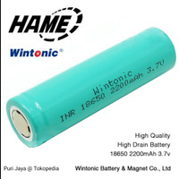 Rechargeable Battery Charge 3.7V Flat Top Wintonic Hame Baterai 18650 - 18650 2200mAh