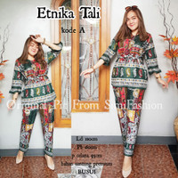 set piyama rumahan (pajama set) busui friendly etnica tali